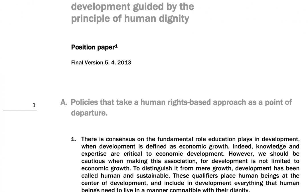 L'après 2015: un développement guidé par le principe de la dignité humaine